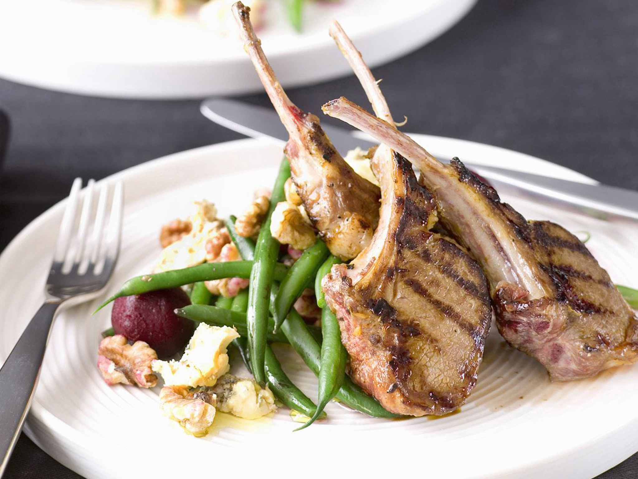 Great BARBECUED LAMB CUTLETS WITH BEETROOT WALNUT SALAD