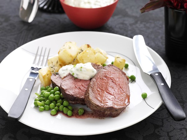 Roasted beef fillet with horseradish mayonnaise