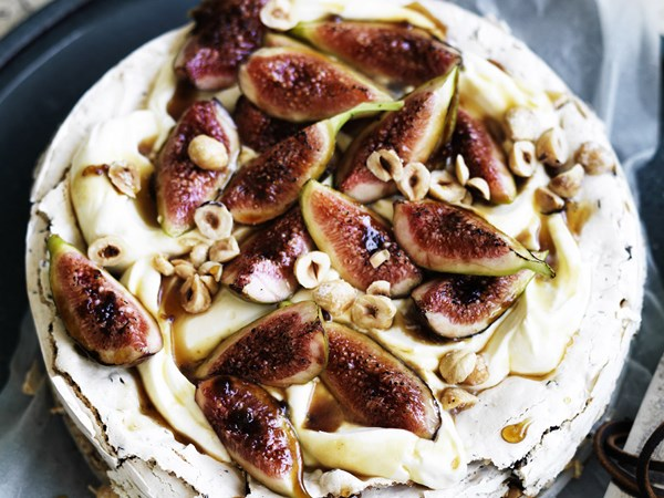 Hazelnut choc chip cake with Frangelico cream and figs