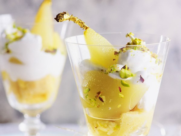 Pear and marshmallow trifles