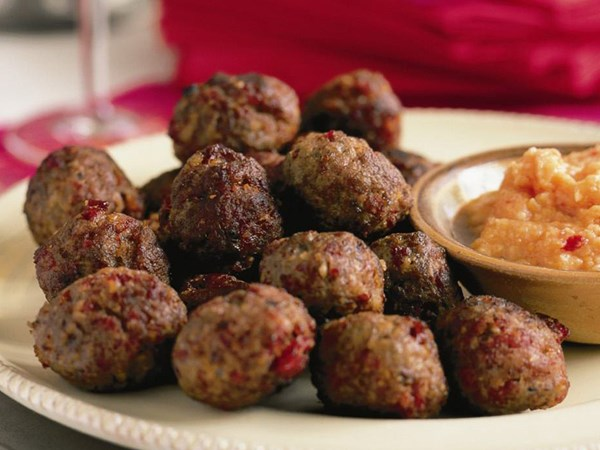 Spiced meatballs with romesco sauce