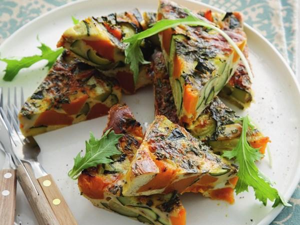 Roast pumpkin and zucchini frittata