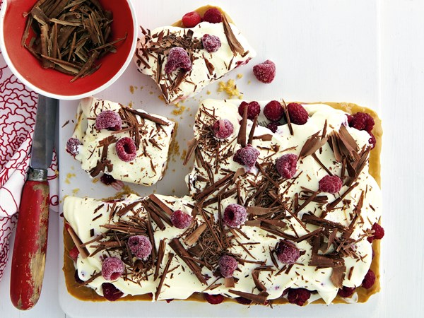 Raspberry and cream slice