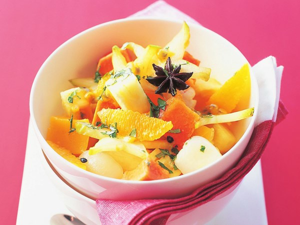Tropical fruit salad with cardamom