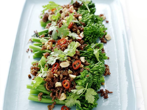 Thai-style sticky pork on broccolini