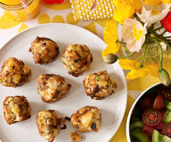 Smoked fish hash cakes with heirloom tomato salad recipe | Food To ...