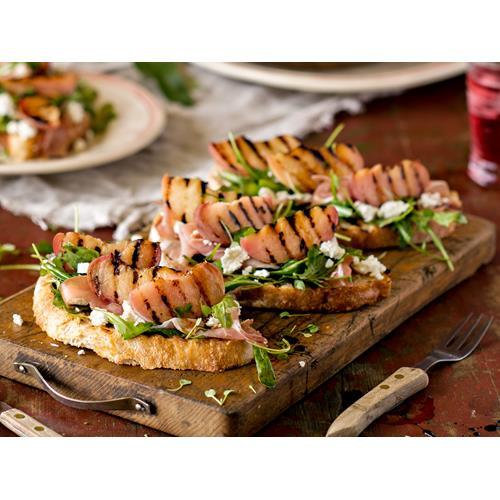 Grilled peach and prosciutto bruschetta recipe | Food To Love
