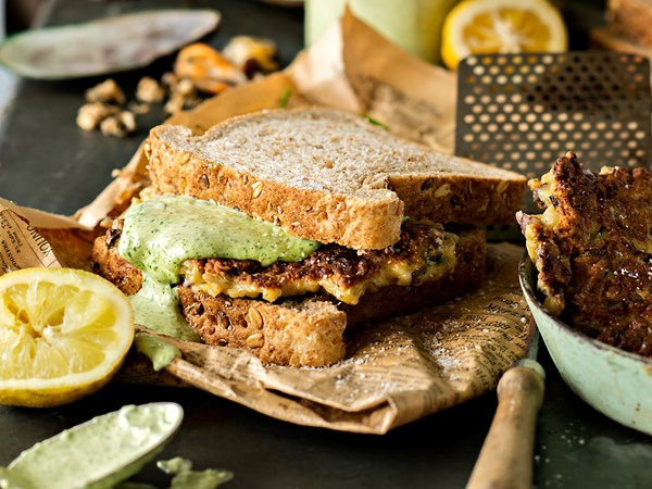Mussel fritter and rocket mayo sandwiches