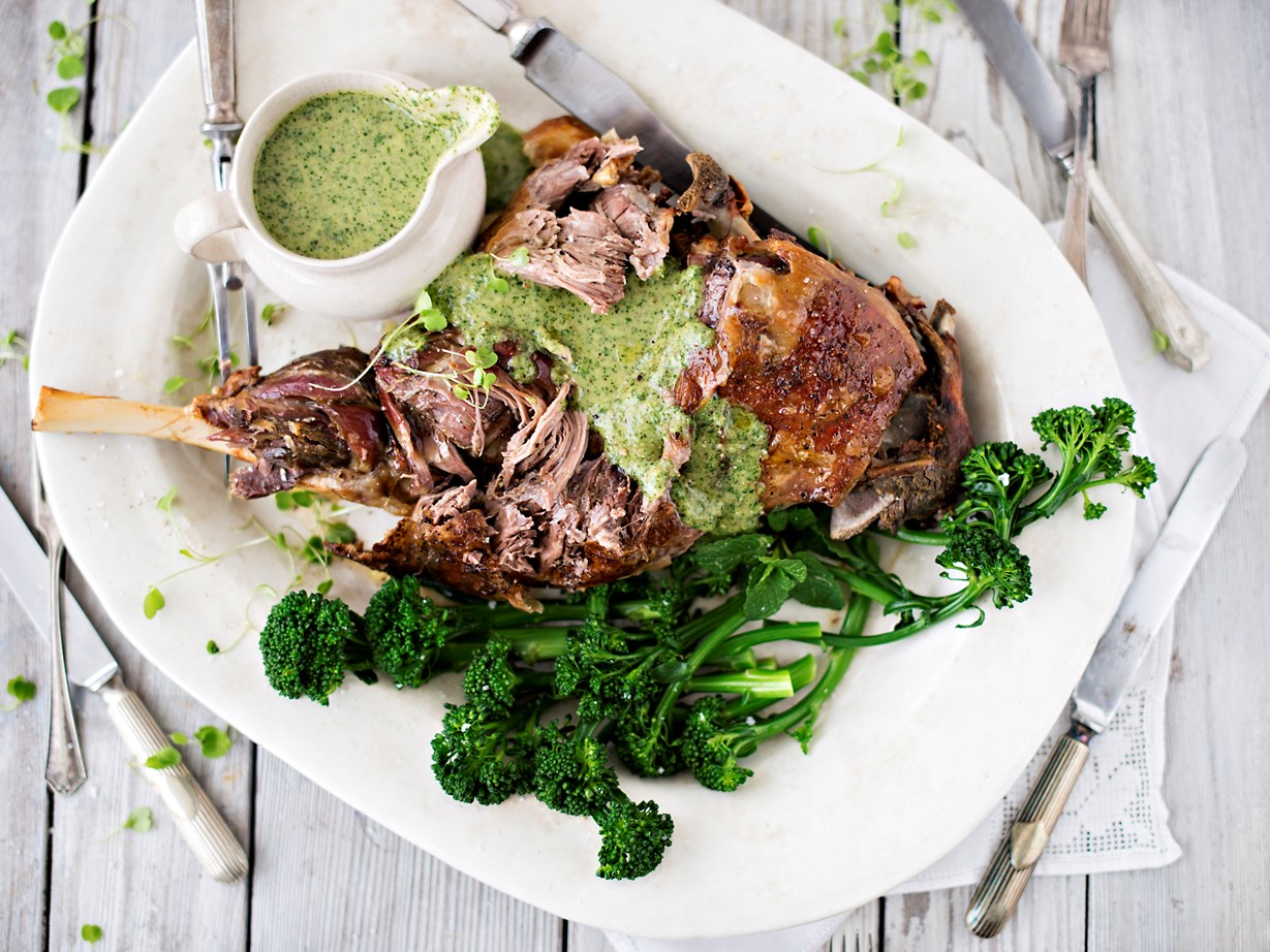 Slow-roasted lamb leg with spring coulis and broccolini recipe ... for Cooked Lamb Meat  165jwn