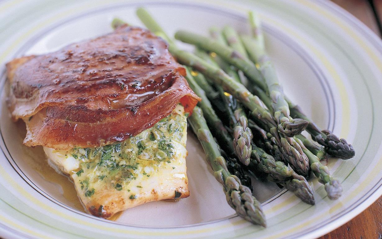 Fish fillets pan fried with pancetta and caper herb butter for Fried fish fillet recipes