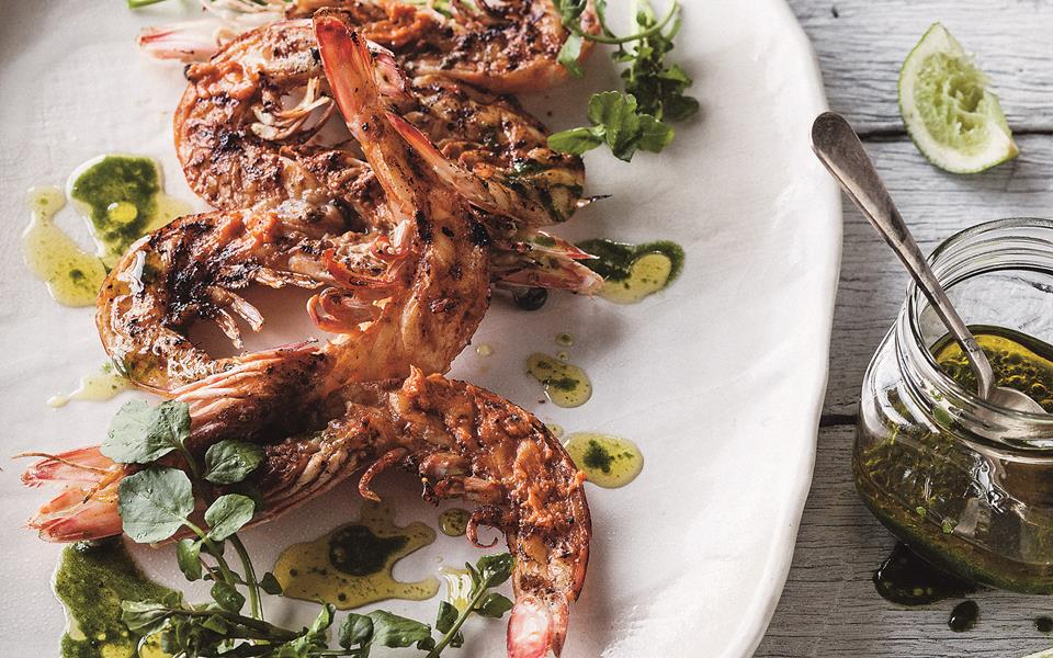 Grilled king prawns with Bloody Mary butter and green oil recipe ...