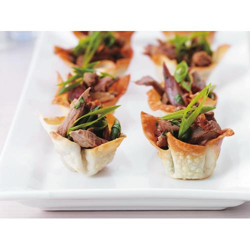 Duck in crisp wonton cups recipe food to love for Canape cup fillings