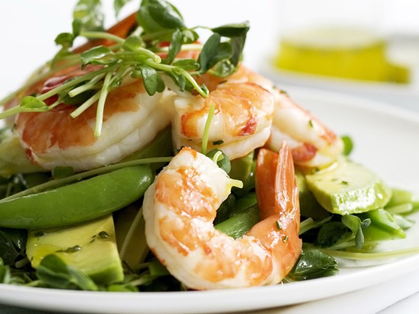 Snow pea, prawn and avocado salad