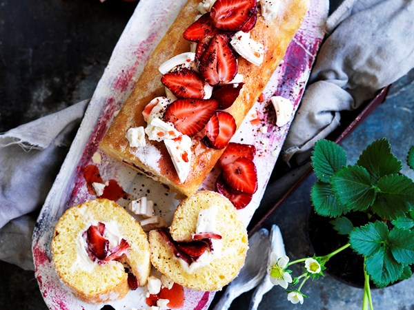 Strawberries and cream white chocolate roulade