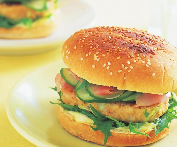Asian chicken burger with pickled cucumber and wasabi mayonnaise ...