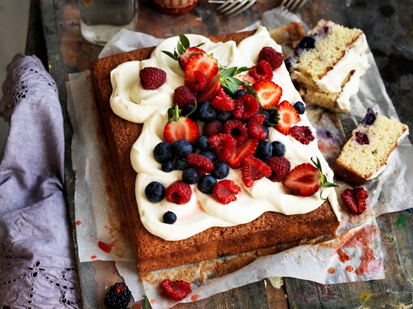 Berry and coconut tres leches cake