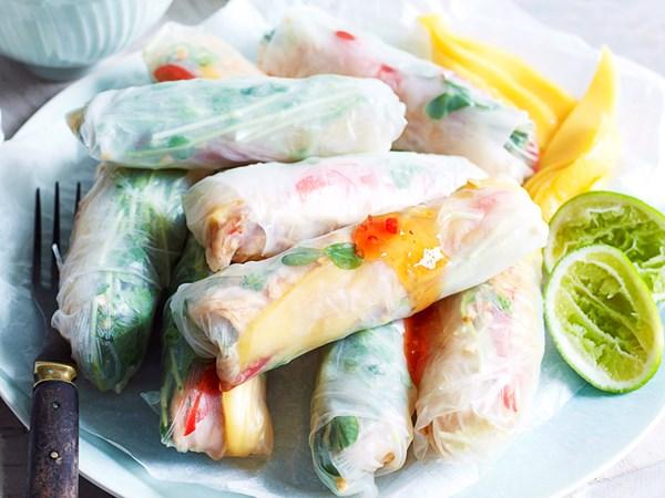 Chicken and mango rice paper rolls