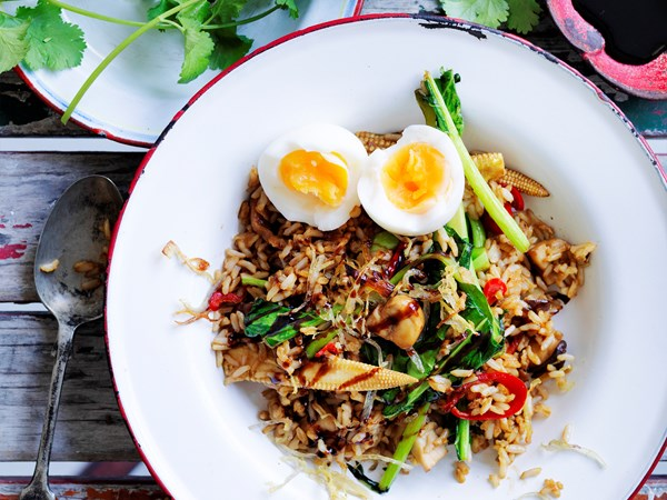 Soft-boiled egg and brown rice nasi goreng