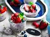 Berry and coconut chia puddings