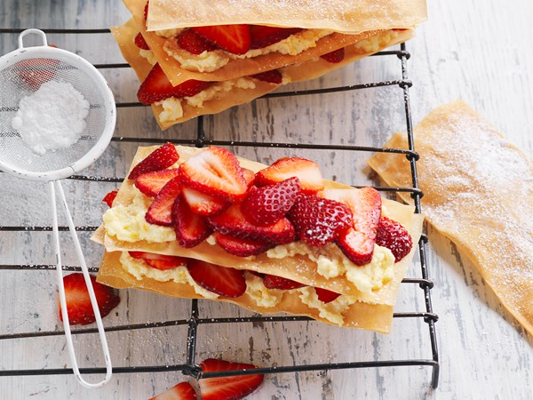 Strawberry and orange mille feuille