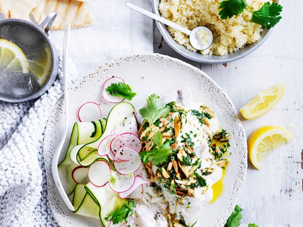 Steamed fish with tahini yoghurt