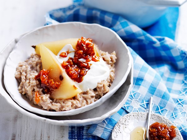 Coconut rice pudding and poached pears