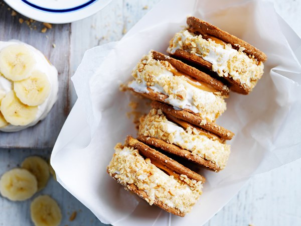 Peanut and honey ice-cream sandwiches