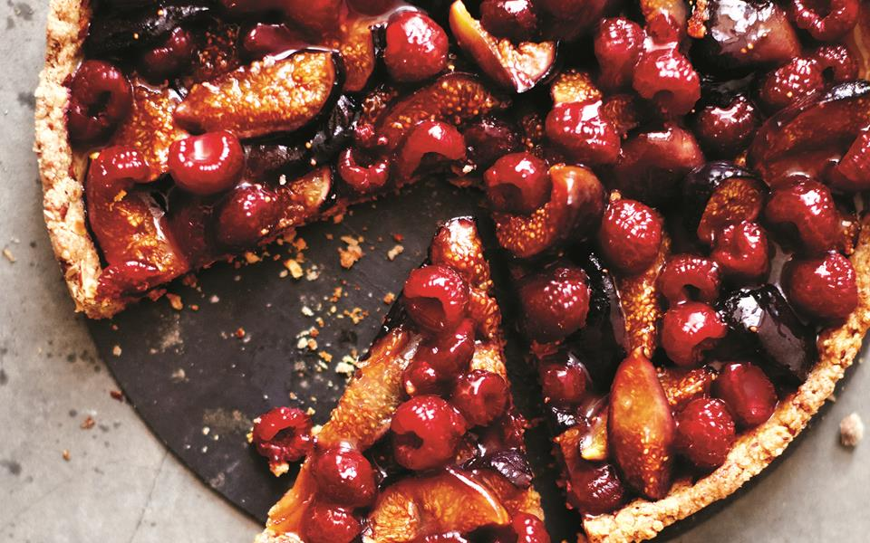 Roasted fig raspberry tart with toasted almond crust recipe | FOOD TO ...