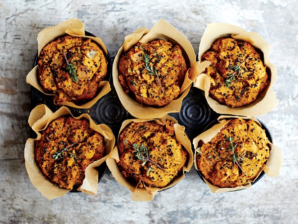 Herbed black quinoa muffins with sweet potato and caramelised onions
