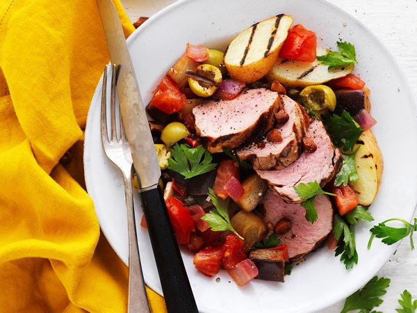 Grilled pork with Sicilian-style caponata