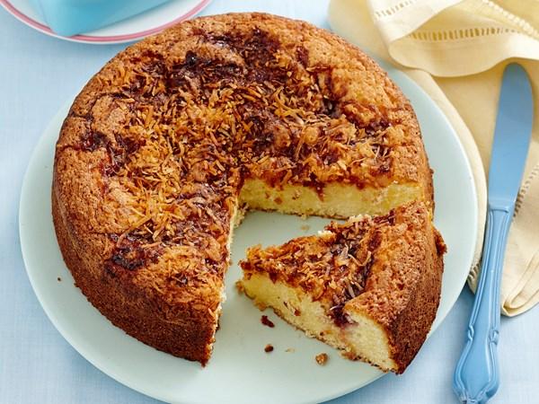 Gluten-free coconut jam cake