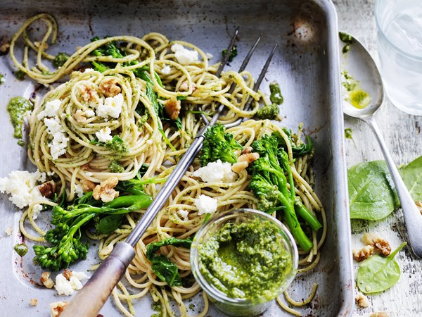 Spinach and broccolini pasta with rocket and walnut pesto
