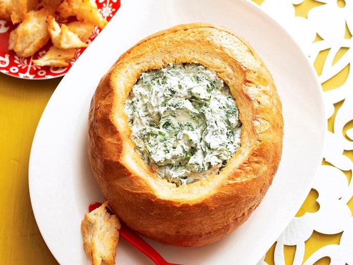 "Recipe: [Cob loaf spinach dip](http://www.foodtolove.com.au/recipes/cob-loaf-spinach-dip-22462 target=""_blank"")"