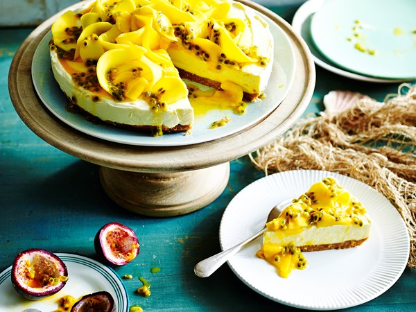 Passionfruit and mango cheesecake
