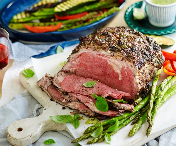 Herb crusted sirloin with grilled vegetables recipe | Food ...