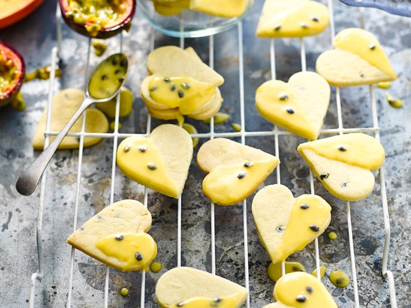 Passionfruit shortbread with passionfruit glaze