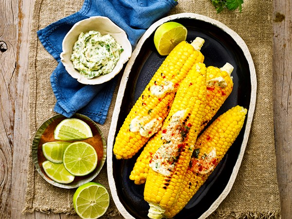 Char-grilled corn with coriander and lime butter