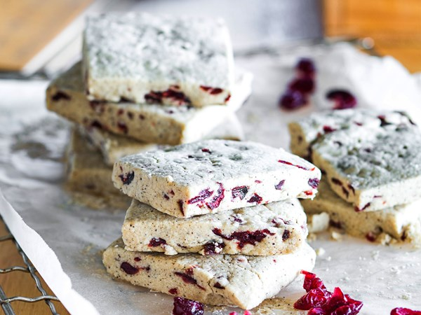 Espresso and cranberry shortbread