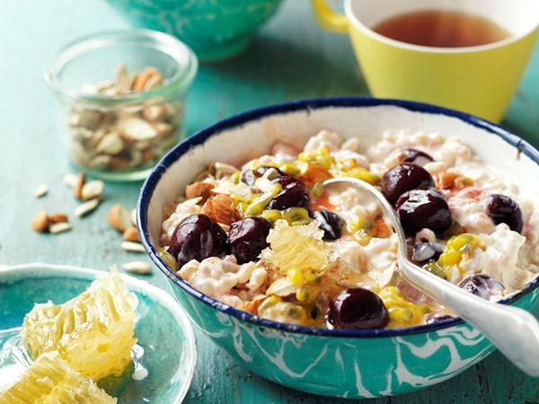 Pearl barley and cherry breakfast bowl