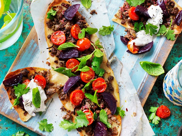 Beetroot and lamb flatbreads with tahini yoghurt