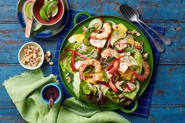 Chicken, prawn and mango salad