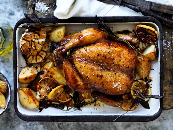 Tea brined roasted chicken