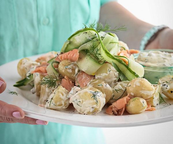 Creamy potato, salmon & dill salad
