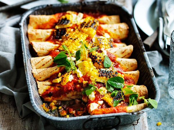 Zucchini, black bean and corn enchiladas