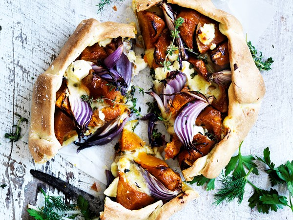 Pumpkin and feta free-form tart