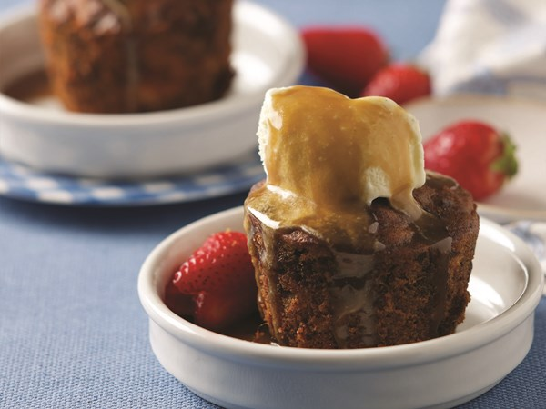 Quinoa sticky date puddings with caramel sauce