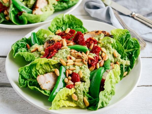 Chicken salad with sugar snap pesto
