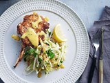 Veal cutlets with warm cabbage & celeriac slaw