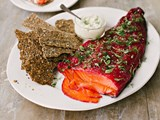 Beetroot-cured salmon gravlax with seed bark