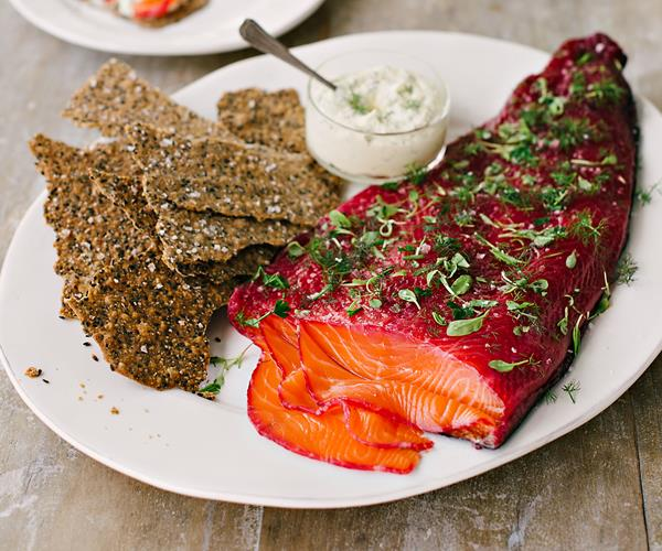 Beetroot-cured salmon gravlax with seed bark recipe | Food To Love
